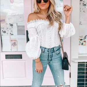 NWT Lulu's White Eyelet Off-the-Shoulder Crop Top